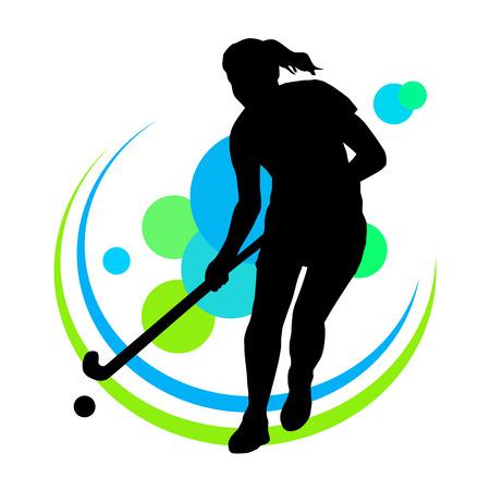 hockey sobre cesped: Ilustración - jugador de hockey hierba