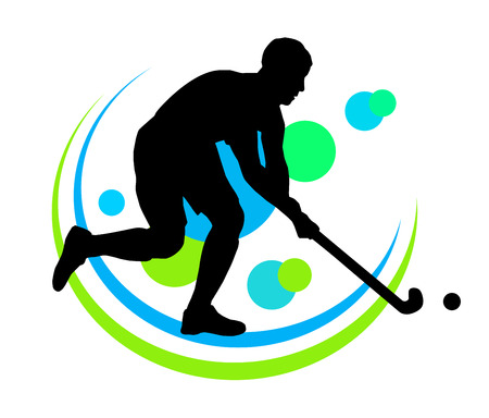 man in field: Illustration - field hockey player