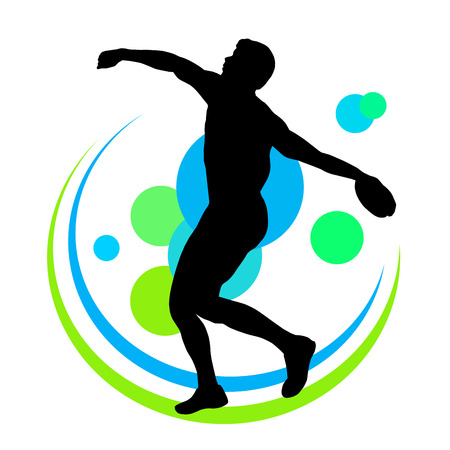 thrower: Illustration - discus thrower in the competition Illustration