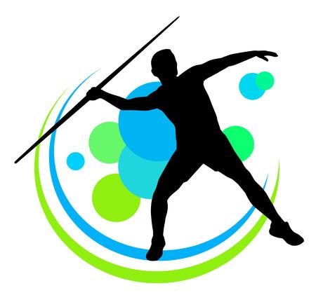 lanzador de jabalina en la acción Ilustración de vector