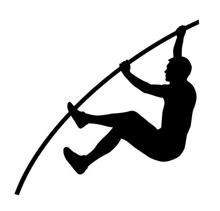 mujer deportista: Atleta de salto de pértiga Vectores