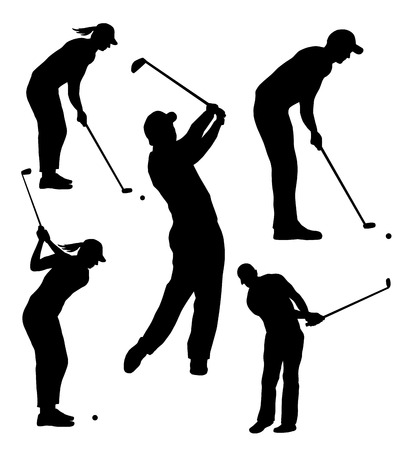 woman golf: Collection -  silhouettes of golf player  Illustration