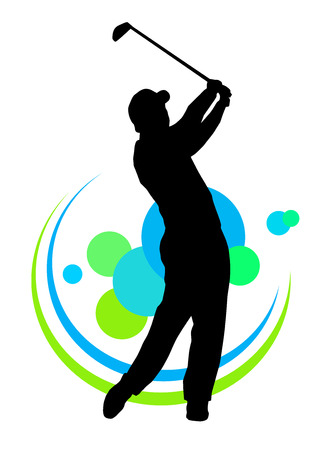 caddy: Illustration -  silhouette of golf player with elements