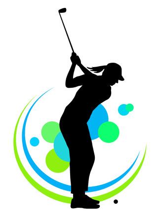 Illustratie - silhouet van een golf speler Stock Illustratie