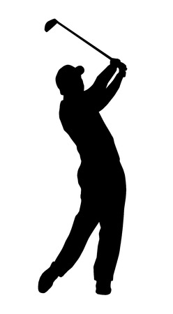 Illustration -  silhouette of a golf player Vector