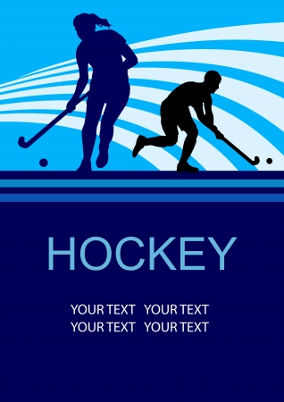 hockey stick: Illustration - field hockey player sport poster Illustration