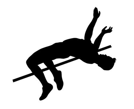 crossbar: Illustration - Athlete jumping high over crossbar Illustration