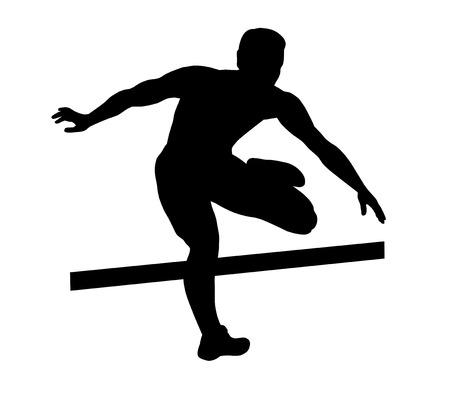 hurdling: Illustration - hurdler fly over hurdles