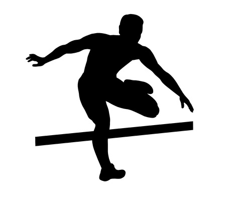 Illustration - hurdler fly over hurdles