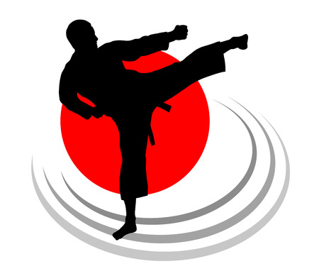 Illustration – karate silhouette with elements 向量圖像