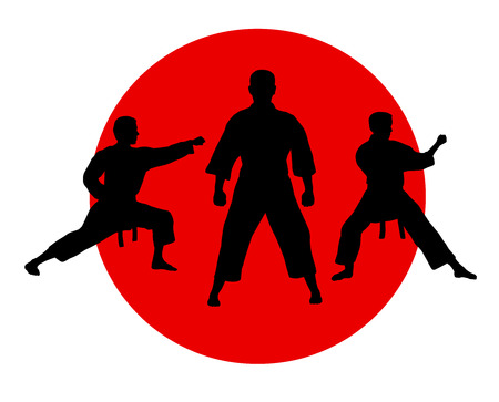 Illustration – karate silhouette with elements Иллюстрация