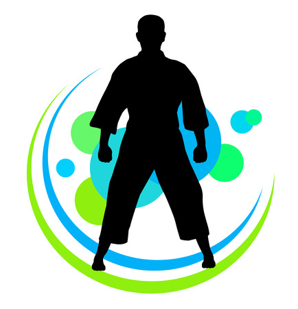 karate practice: Illustration of karate silhouette with elements