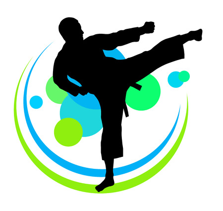 Illustration of karate silhouette with elements