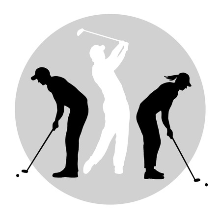 woman golf: Illustration -  silhouettes of golf players with element Illustration