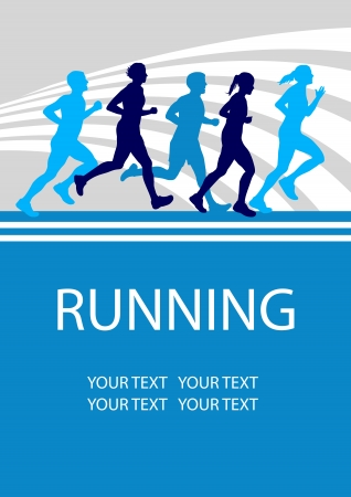 woman run: Running sport poster background Illustration