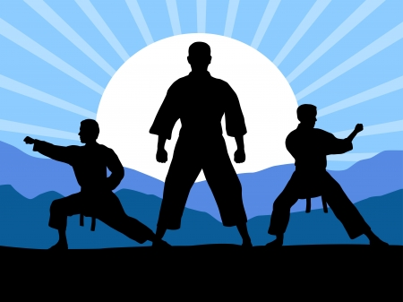Illustration Karate silhouettes with elements Иллюстрация