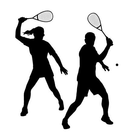 Illustratie - Squash speler silhouet Stock Illustratie