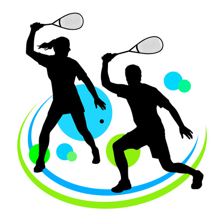 sport club: Illustration -  Squash player silhouette with elements Illustration