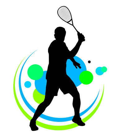racket sport: Illustration -  Squash player silhouette with elements Illustration