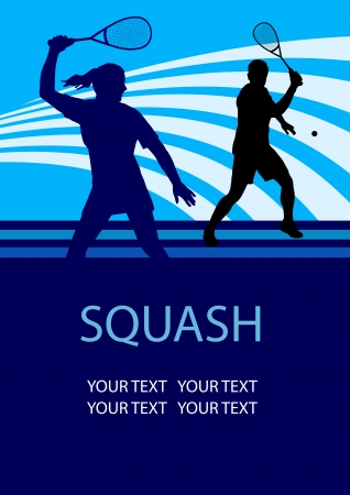 equipe sport: Illustration - Squash Sport fond d'affiche