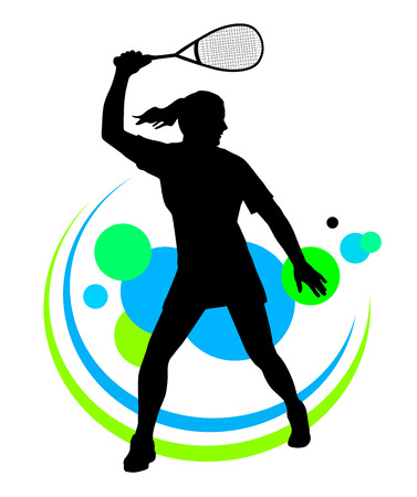 Illustration -  Squash player silhouette with elements Иллюстрация