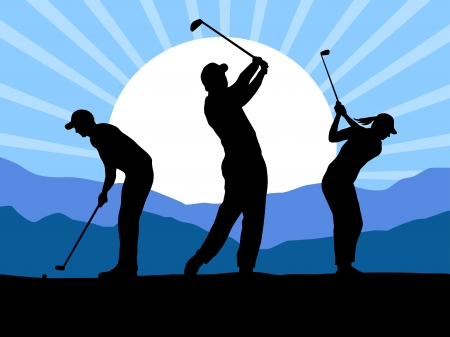 Illustration -  Silhouette of golf players with elements Иллюстрация