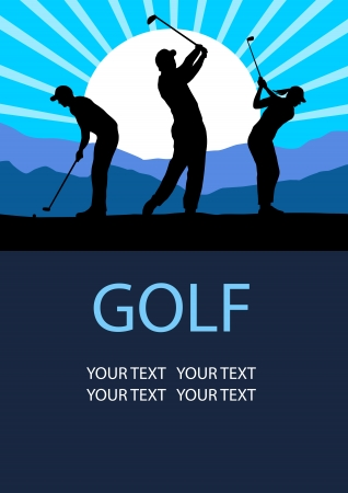 woman golf: Illustration - Golf sport poster background