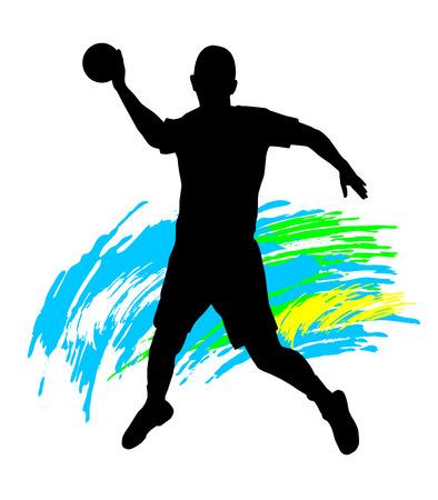 Illustration  silhouette of a handball player Vector
