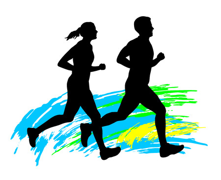 Illustration - running people Иллюстрация