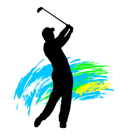 woman golf: Illustration -  silhouette of a golf player