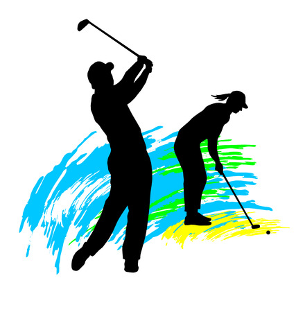 woman golf: Illustration -  silhouette of golf players