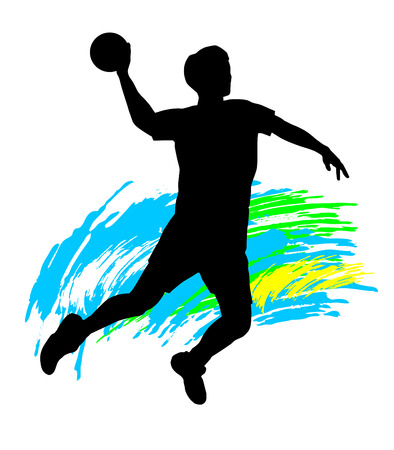 Illustration  silhouette of a handball player