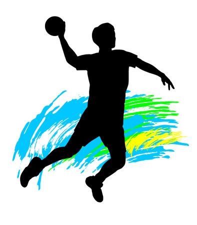 handball: Illustration  silhouette of a handball player