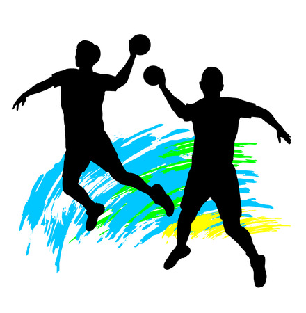 Illustration silhouette of a handball players Vector