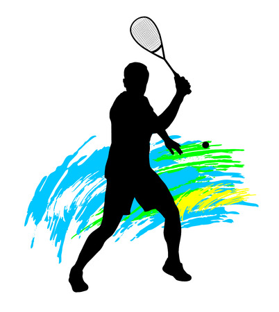 Illustration -  Squash player silhouette  Иллюстрация