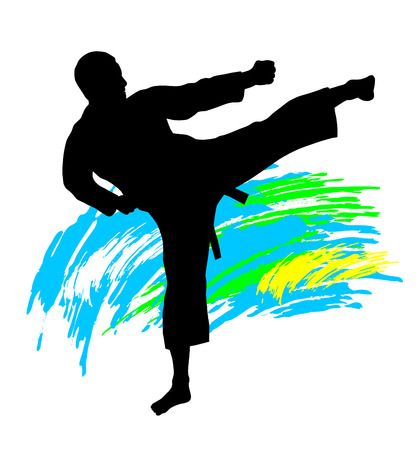 karate practice: Illustration  karate silhouette with elements Illustration