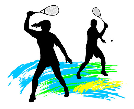 in action: Illustration -  Squash player silhouette  Illustration