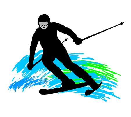 mountaintop: Illustration ski - sport