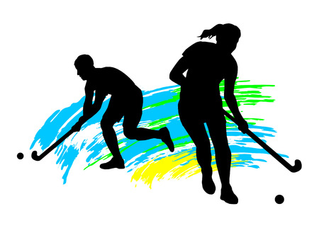 field hockey: Illustration - field hockey player