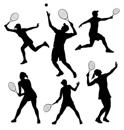 raqueta de tenis: Ilustraci�n - Tenis siluetas de jugadores establecidos Vectores