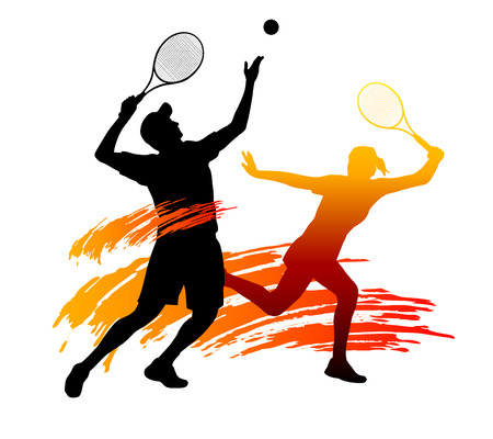 Illustration - silhouettes of tennis players with elements