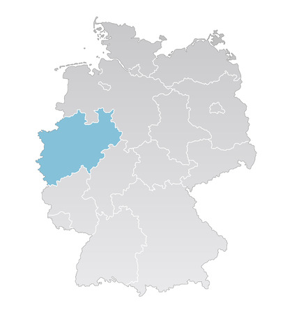federal: Illustration - Political map of Germany with the several states where Nordrhein Westfalen is highlighted
