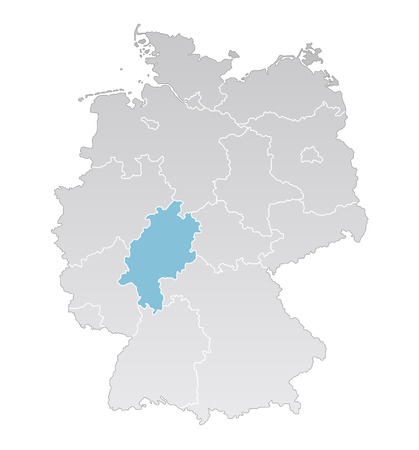 federal states: Illustration - Political map of Germany with the several states where Hessen is highlighted Illustration