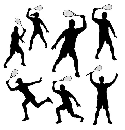 Illustration - Squash players silhouettes set Vector