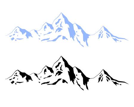 그림 겨울 산 일러스트