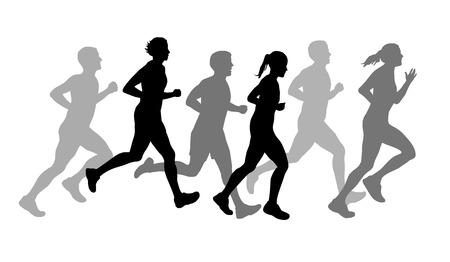 Illustratie tekening atleten op de lopende Stock Illustratie