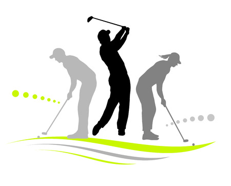 Illustration -  silhouettes of golf players with elements