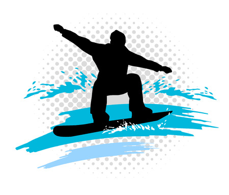 mountaintop: Illustration - ski - sport