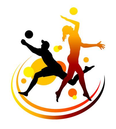 pallavolo: Giocatore di pallavolo spiaggia illustrazione con elementi