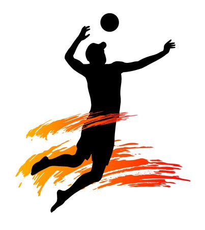 pelota de voley: Jugador de voleibol de playa Ilustración con elementos